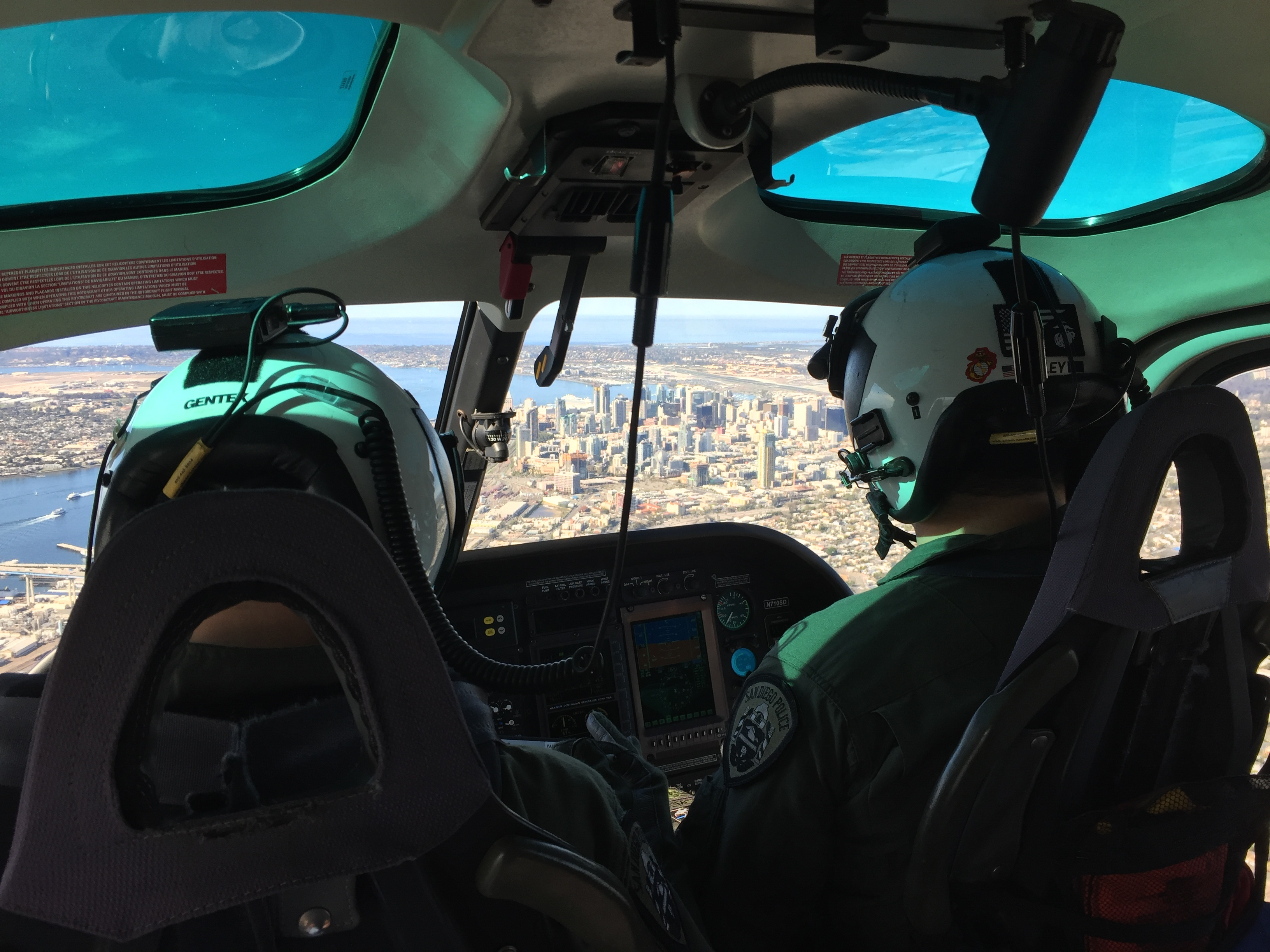 Photo taken inside an SDPD (ABLE) Helicopter