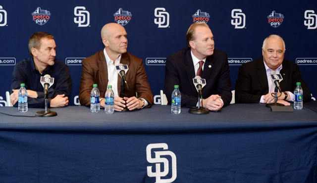 Photo of Mayor Faulconer with Ron Fowler and Mike Dee of the San Diego Padres