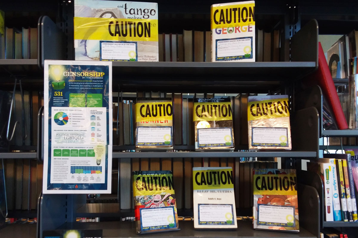 Banned Books Week display at the Pacific Beach Library