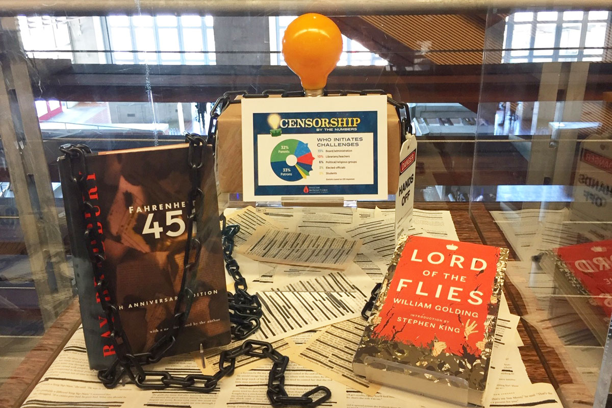 Banned Books Week display at the Central Library