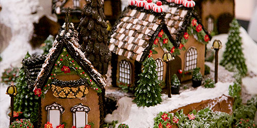 Beautifully decorated gingerbread houses