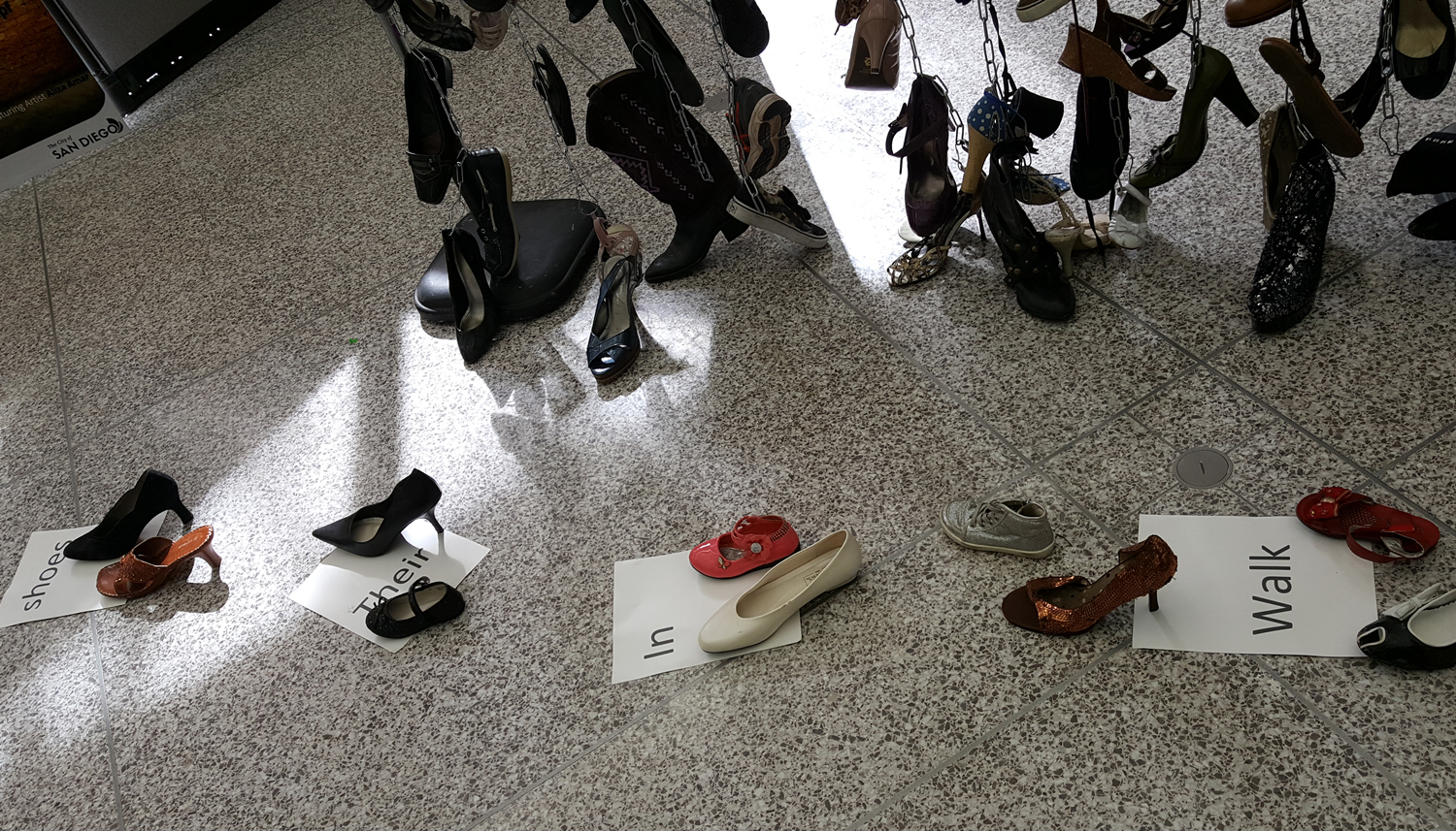 Photo of Aliza Amar's Shoe Exhibit at the Out of the Shadows display at City Hall.