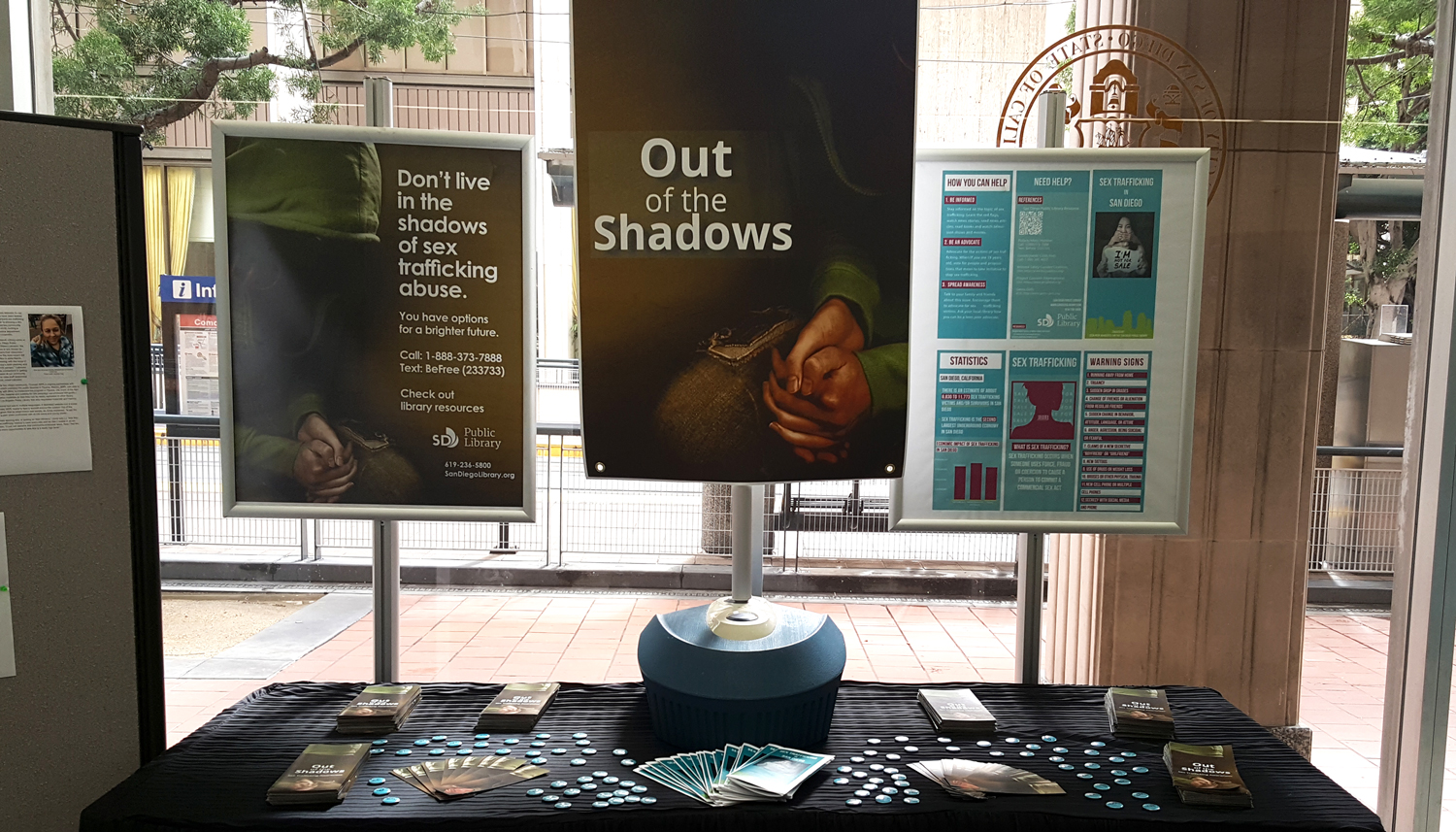 Photo of the Out of the Shadows display at City Hall.