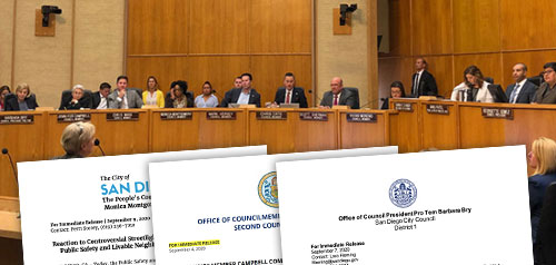 Press releases overlaying a photo of a council meeting