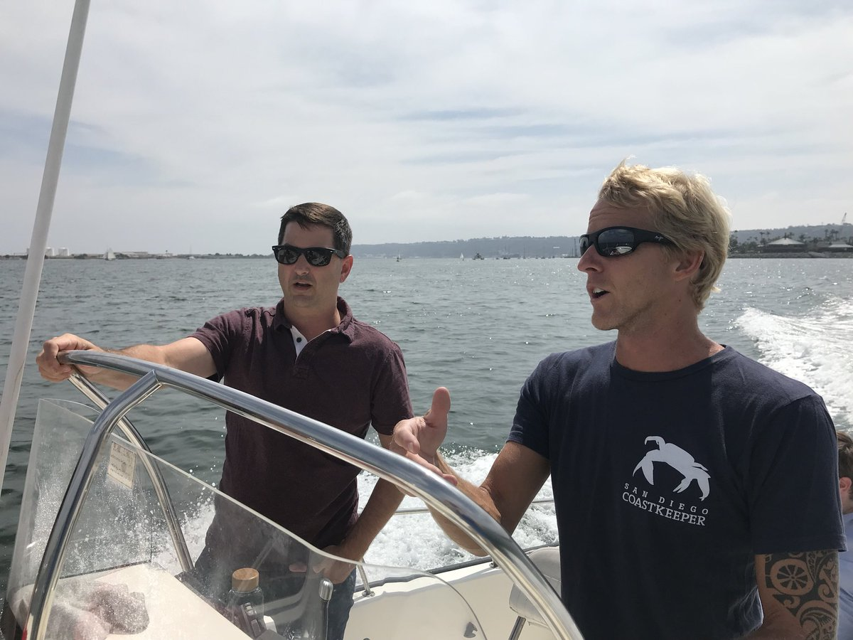Councilmember Ward with San Diego Coastkeeper discussing the ongoing water quality and issues facing the San Diego Bay
