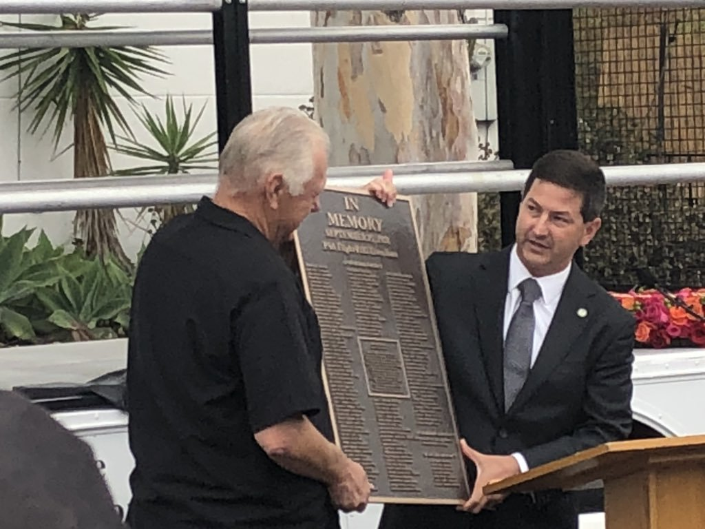 Unveiling our new memoiral plaque to honor the lives lost in the crash of Pacific Southwest Airlines Flight 182