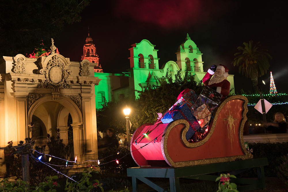 A Santa Claus in a sleigh fixture at  December Nights 2017