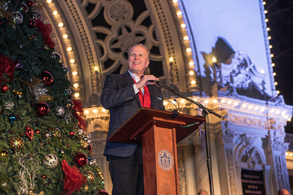Mayor Kevin Faulconer giving opening remarks at December Nights 2017