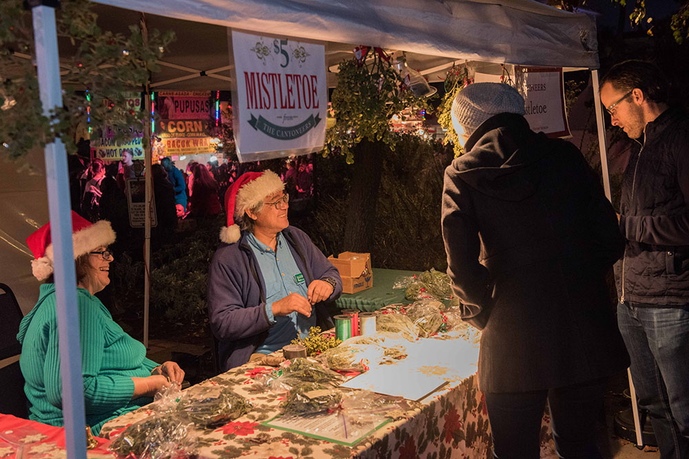 Christmas shoppers buying mistletoe at December Nights 2017