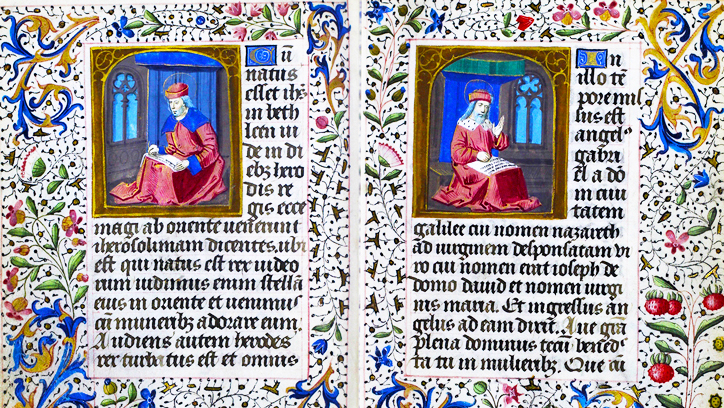 Photo of two pages from the book of Hours