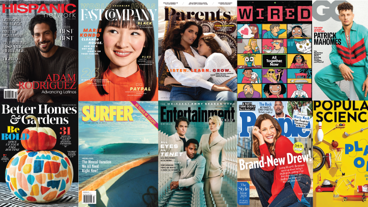 Graphic with various magazine covers.