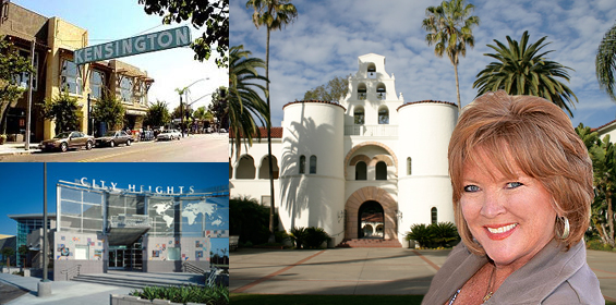 Photo Collage of City Heights Library, Kensington, SDSU and Marti Emerald