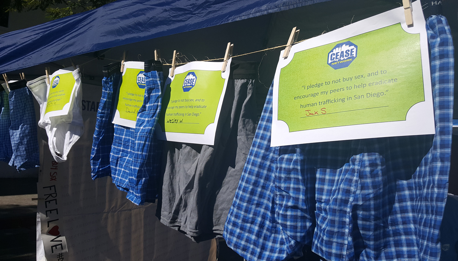 Photo of Cease Network Booth selling underwear to stand up against Human Trafficking at the Freedom Now Fair.