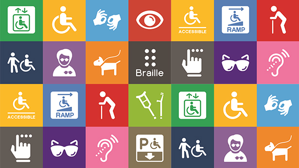 Image of icons associated with disability services