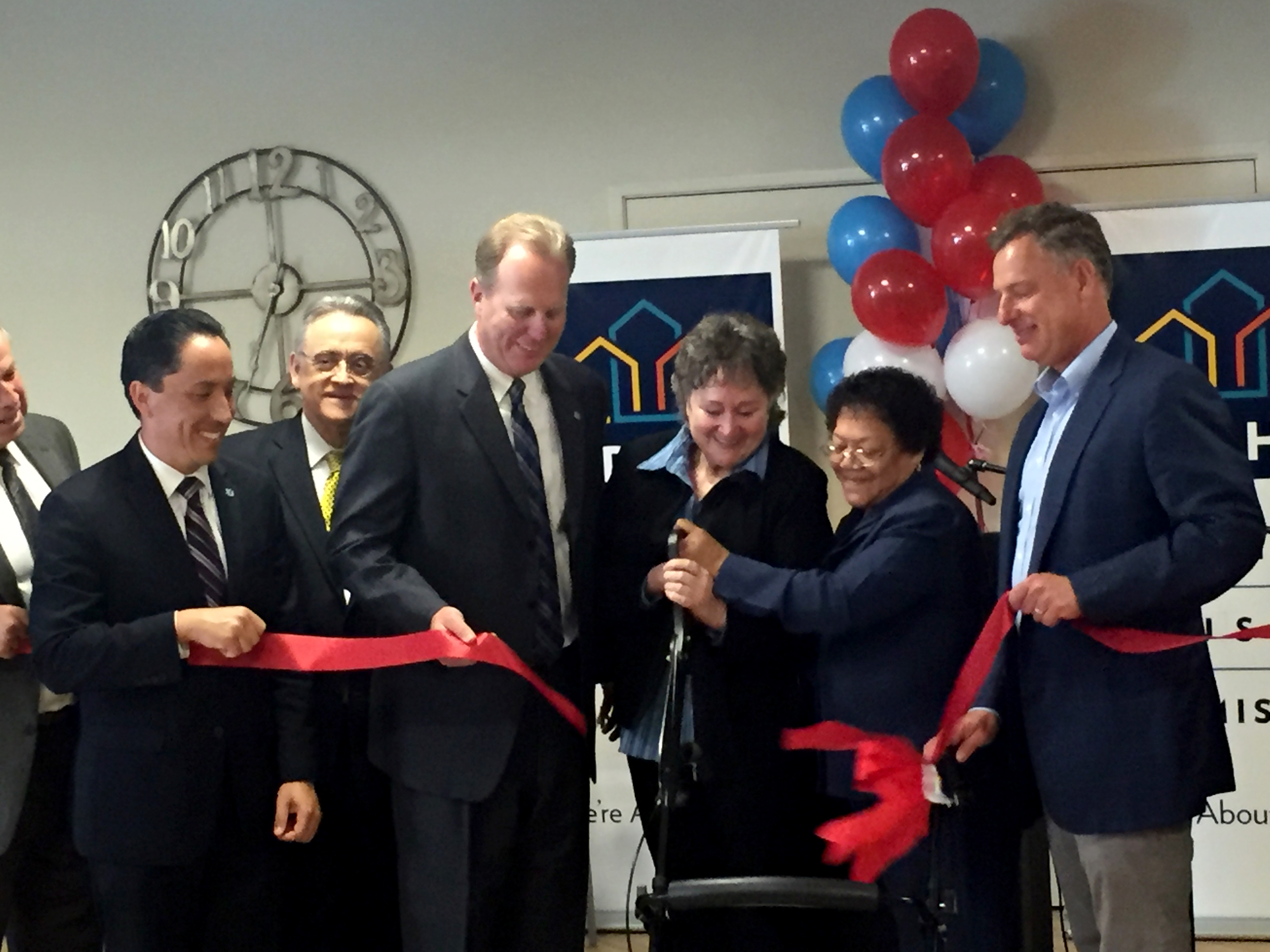 Mayor Kevin L. Faulconer, Congressman Scott Peters, City Councilmember Todd Gloria and San Diego Housing Commission CEO Richard C. Gentry at ribbon-cutting ceremony for San Diego Square Apartments.