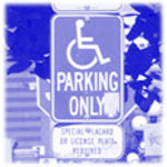 Photo of blue handicap parking only sign