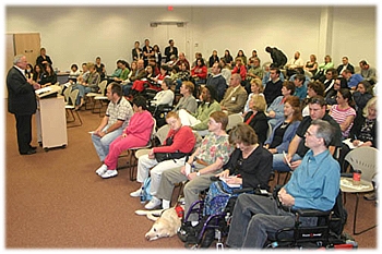 Photo of Mayor Jerry Sanders participating in a Disabilities Forum