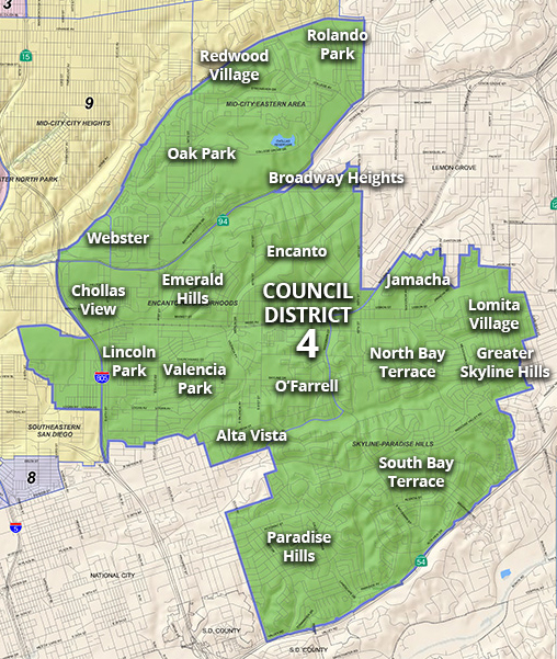 Map of Council District 4 Neighborhoods
