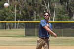Photo of Councilmember Kersey Throwing out the first pitch before a Carmel Mountain Ranch Little League game