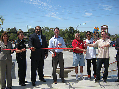 Photo 1 of 1: Photo of Councilmember Kersey Cutting the Ribbon at Rancho Peñasquitos Skate Park