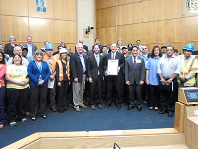 Photo 1 of 1: Councilmember Kersey Presenting the City's Public Works staff with a proclamation during National Public Works Week