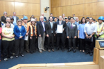 Photo of Councilmember Kersey Presenting the City's Public Works staff with a proclamation during National Public Works Week