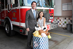 Photo of Councilmember Kersey Collecting donations for We Care Bears with Jessica Carscadden