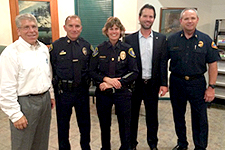 Photo of Councilman Mark Kersey with Fire and Police Officials