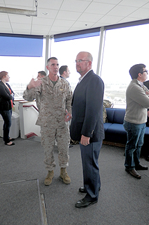 Photo of MCAS Miramar Commanding Officer Col. John P. Farnam giving Councilmember Sherman a tour of the air station