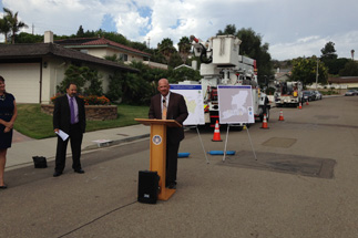 Photo of Councilman Sherman and Residents at the Last Overhead Pole Removal In Del Cerro Project Block Event