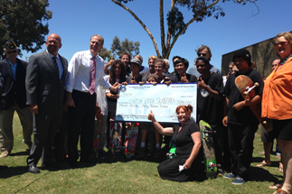 Photo of Councilman Sherman Presenting a $3,040,000 to the Linda Vista Community