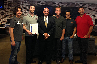 Photo of Councilman Sherman with Business Owners in the Startup Industry