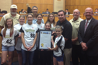 Photo of Councilman Sherman with the Tierrasanta Canyon Girls Softball Team