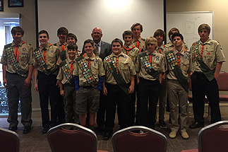 Photo of Councilman Sherman with Members of Boy Scout Troop 959