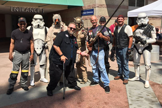 Photo of Councilman Sherman with Members of the 501st Legion Imperial Sands Garrison, Mandolorian Mercs and the San Diego Star Wars Society