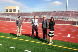 Photo of Councilmember Sherman touring the new sports facilities at Kearny High School in Linda Vista