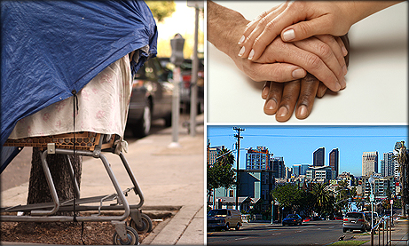Photo Collage of Homeless Cart, Hands, and Skyline