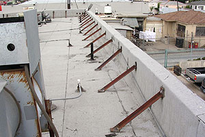 photo of wall anchor bracing roof parapet