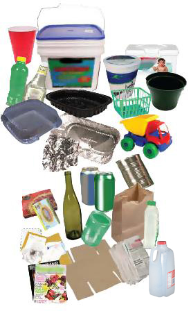 Collage of Recycleable Rigid Plastics