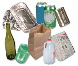 Photo Collage of Recyclable Materials