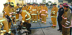 Photo of firefighters training
