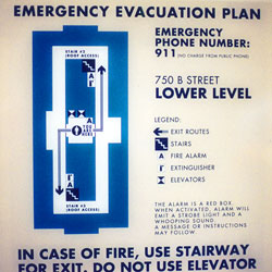 Photo of emergency exit floor plan