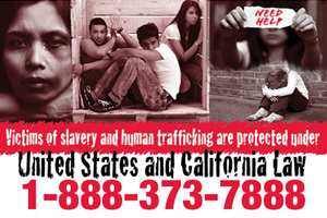 Graphic collage of Trafficking Victims, Victims of slavery and human trafficking are protected under law. United States and California Law, 1-888-373-7888