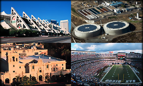 collage of the Convention Center, Otay Mesa Water Treatment Plant, Balboa Park, and Qualcomm Stadium