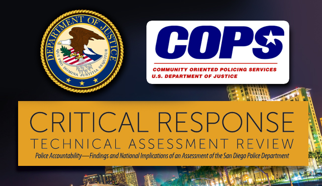 Photo of United States Department of Justice Logo, COPS logo and Cover of the Report