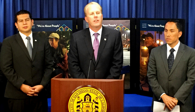 Photo of Mayor Kevin L. Faulconer with Councilmember David Alvarez and Councilmember Todd Gloria Speaking about the Permanent Homeless Shelter