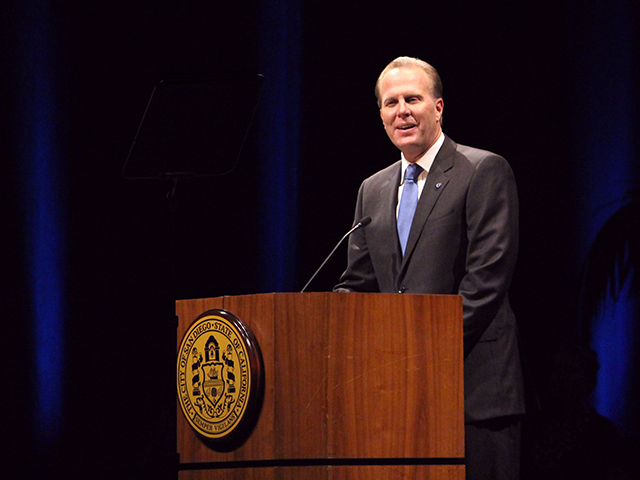 Photo of Mayor Faulconer delivering his State of the City address