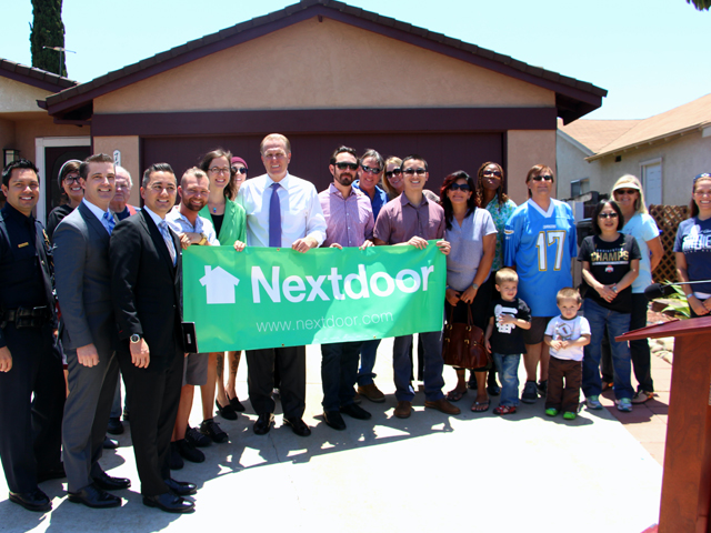 Photo at announcement of City partnership with Nextdoor.com