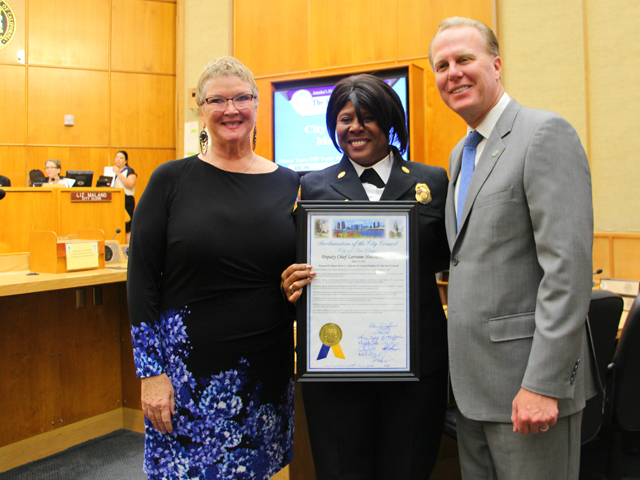 Photo of Mayor Faulconer and Councilmember Emerald with Deputy Chief Hutchinson