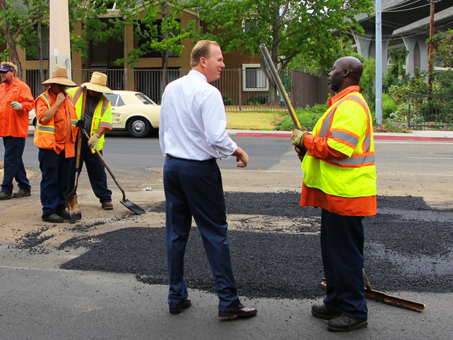 Photo of Mayor Faulconer at the Street Repair Press Conference